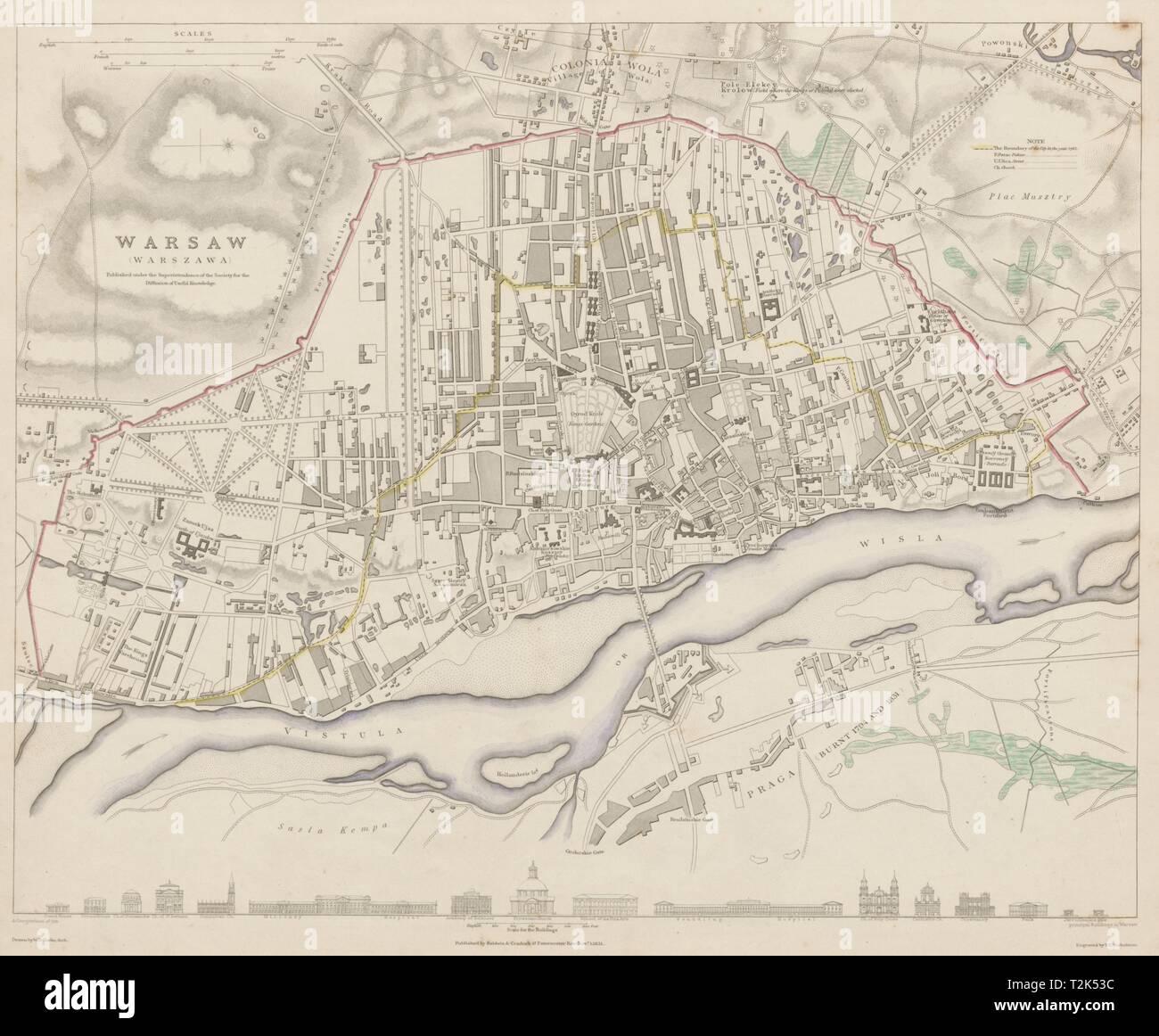 WARSAW WARSZAWA antique town city map plan. Building profiles.Colour SDUK 1844 Stock Photo