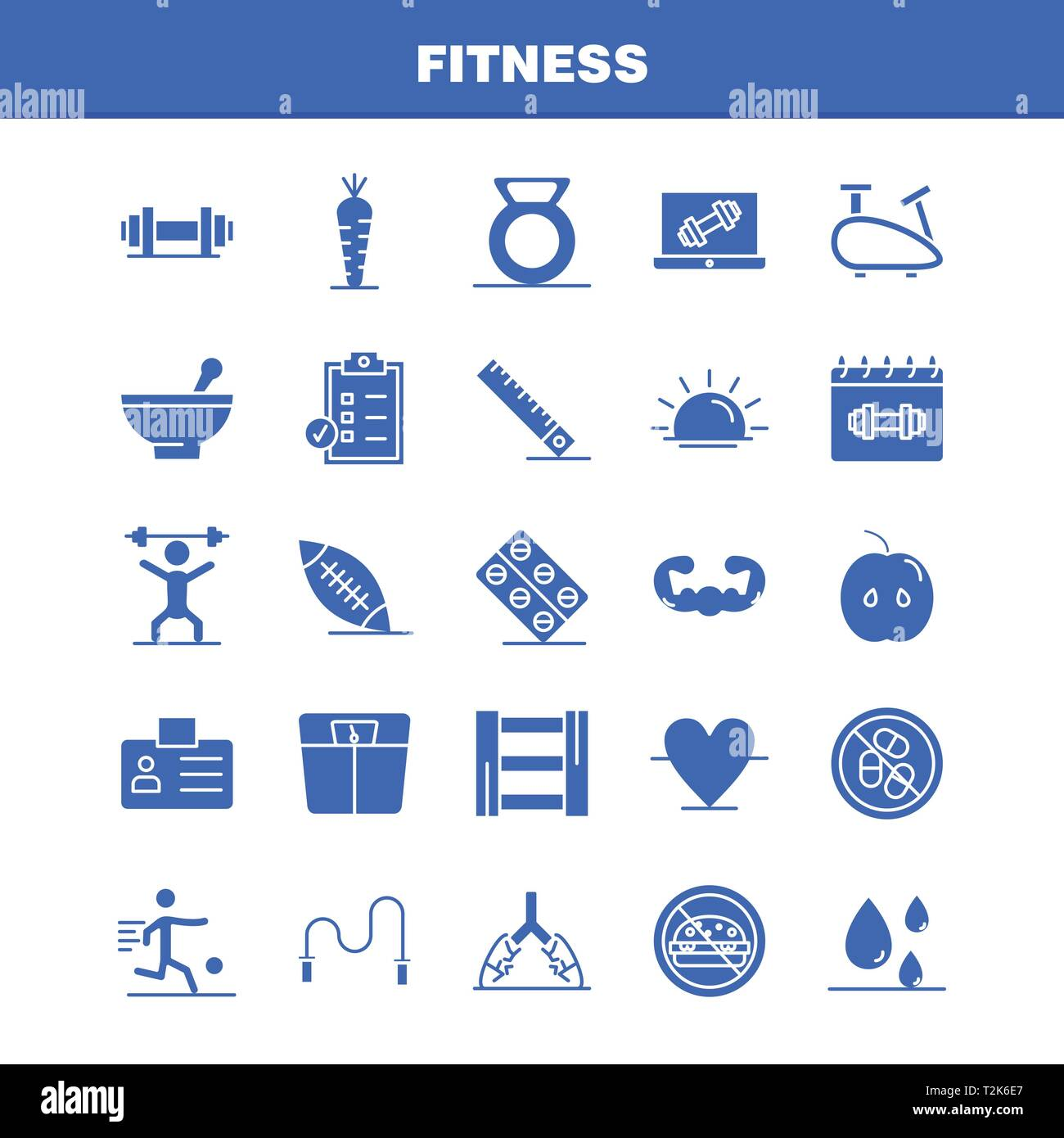 Fitness Solid Glyph Icons Set For Infographics, Mobile UX/UI