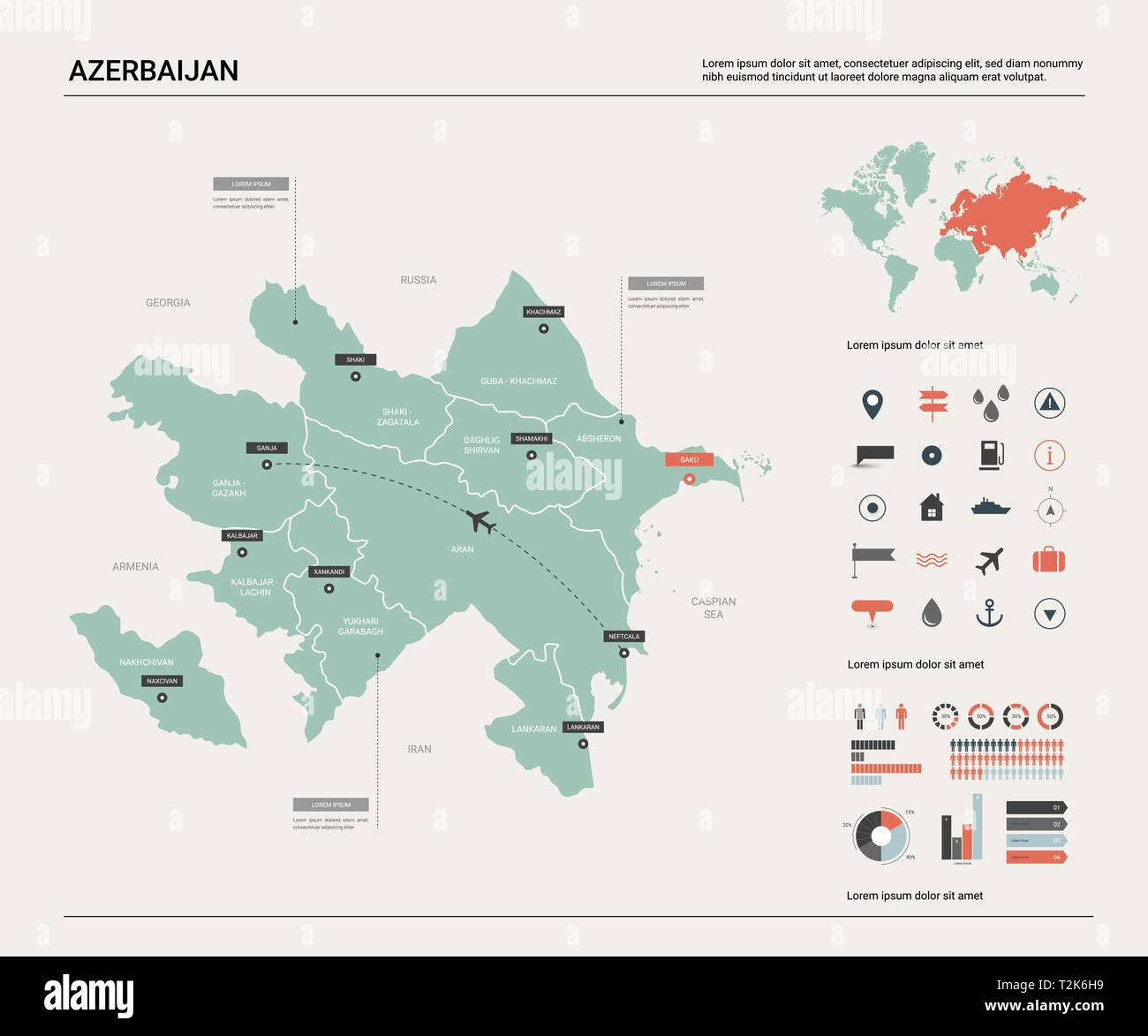 Vector map of Azerbaijan .  High detailed country map with division, cities and capital Baku. Political map,  world map, infographic elements. - Stock Vector