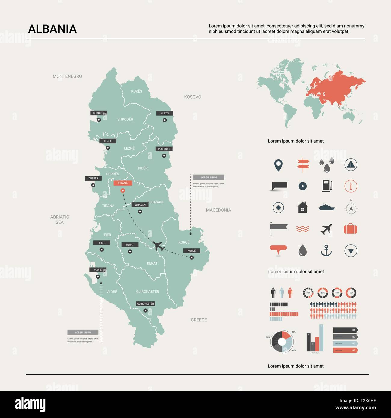 Vector map of Albania .  High detailed country map with division, cities and capital Tirana. Political map,  world map, infographic elements. - Stock Vector