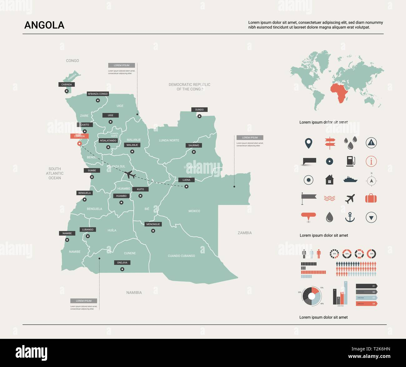 Vector map of Angola .  High detailed country map with division, cities and capital Luanda. Political map,  world map, infographic elements. - Stock Vector