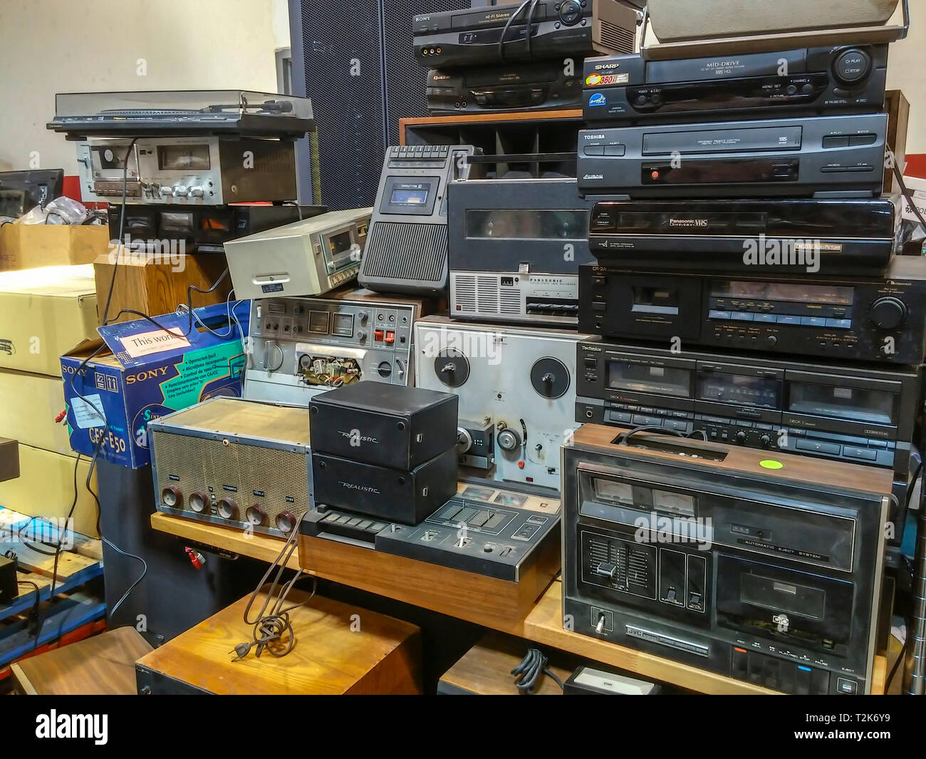 A collection of discarded electronics waiting to be recycled in New York on Saturday, March 30, 2019. (© Richard B. Levine) - Stock Image