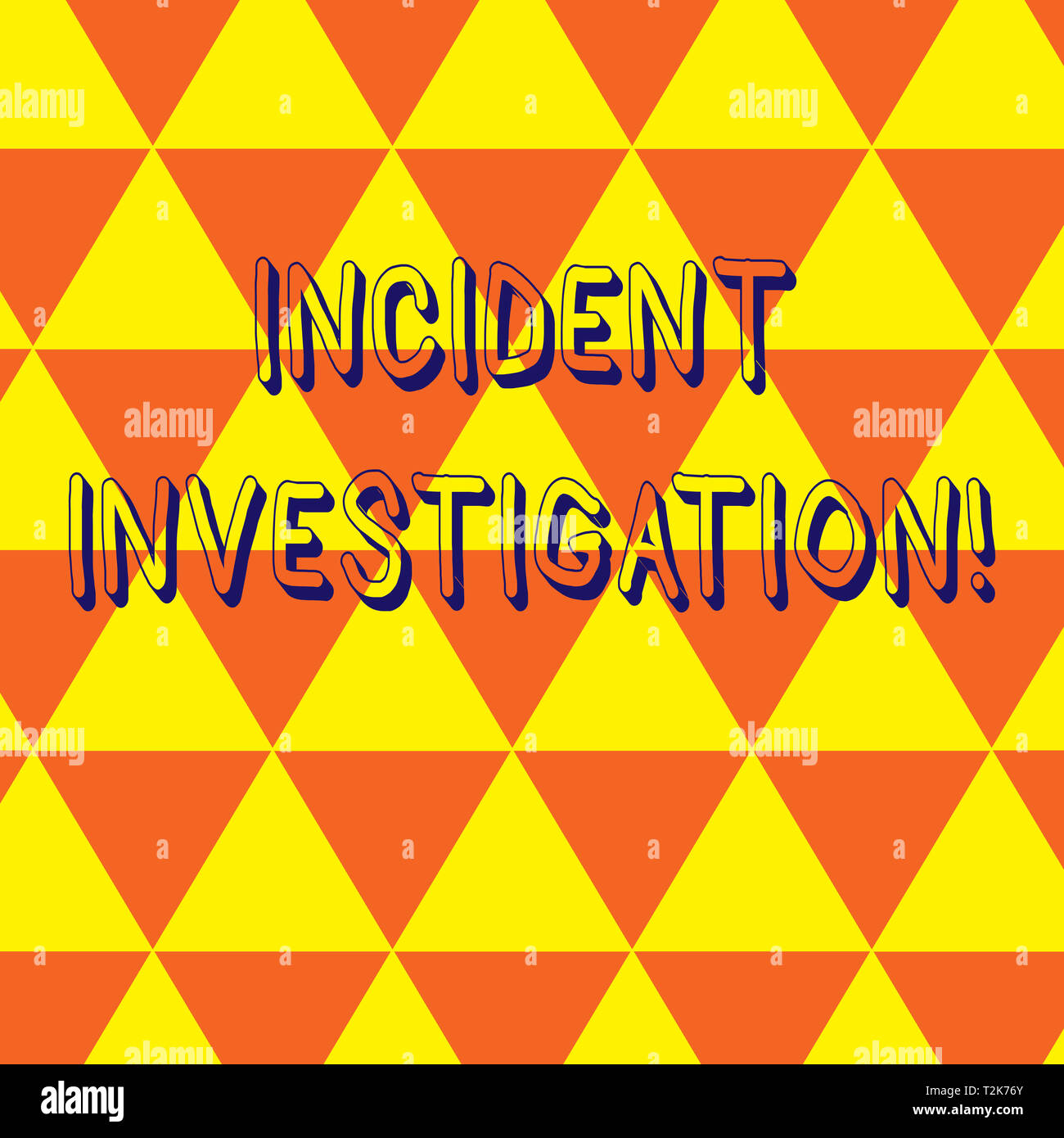 Writing note showing Incident Investigation. Business concept for Account and analysis of an incident based on evidence Repeat Triangle Tiles Arranged - Stock Image