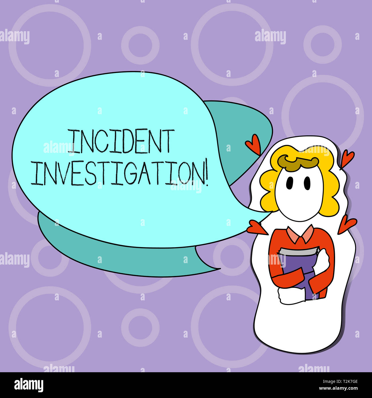 Writing note showing Incident Investigation. Business concept for Account and analysis of an incident based on evidence Girl Holding Book with Hearts  - Stock Image