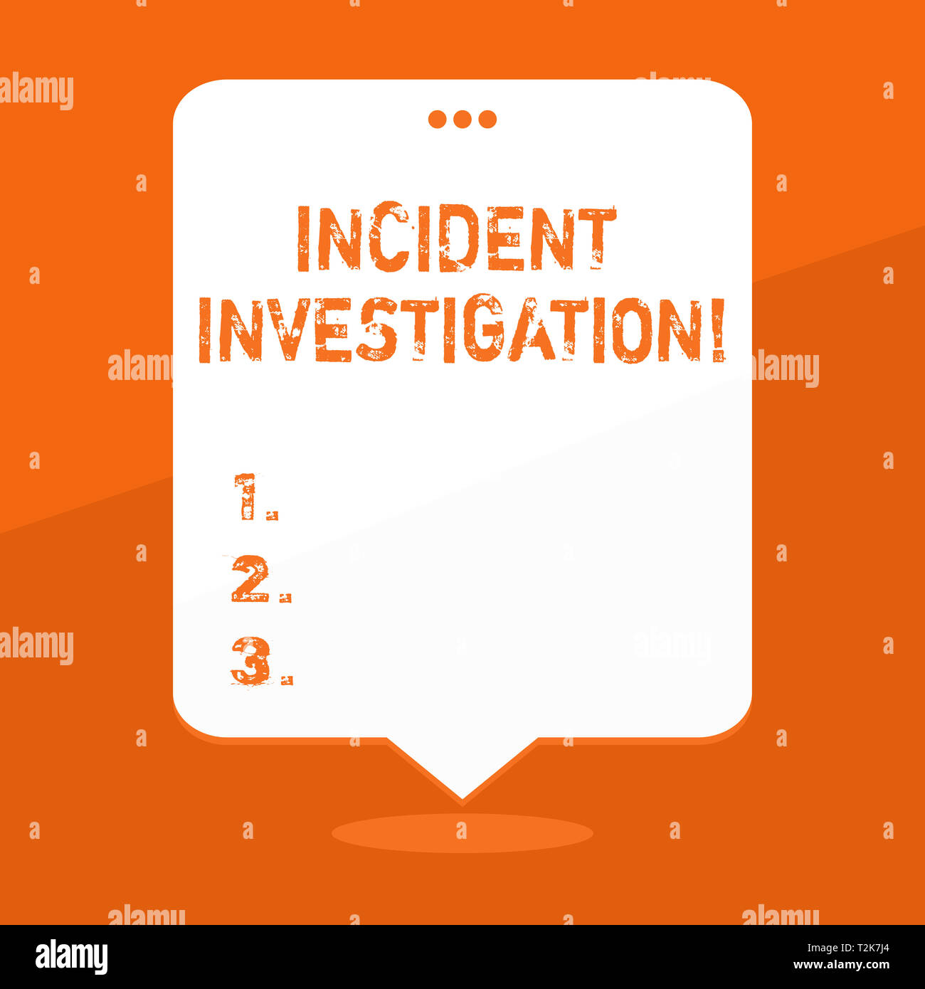 Handwriting text writing Incident Investigation. Conceptual photo Account and analysis of an incident based on evidence Blank Space White Speech Ballo - Stock Image