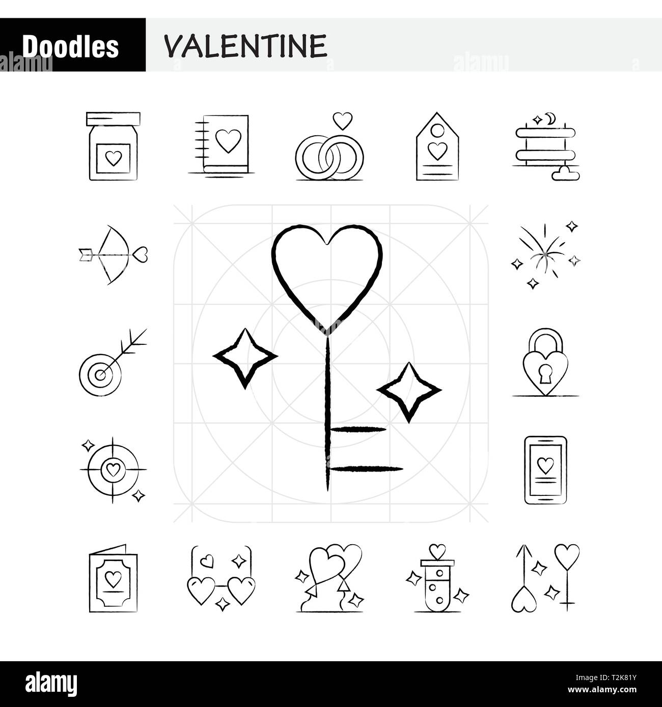 Valentine Hand Drawn Icons Set For Infographics, Mobile UX/UI Kit And Print Design. Include: Bottle, Medicine, Love, Valentine, Romantic, Book, Love,  - Stock Image