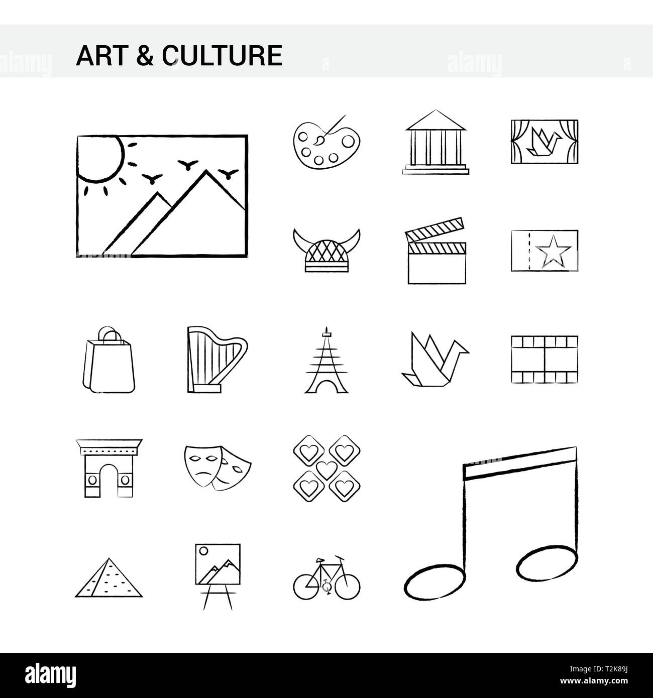 Art and Culture hand drawn Icon set style, isolated on white background. - Vector - Stock Vector