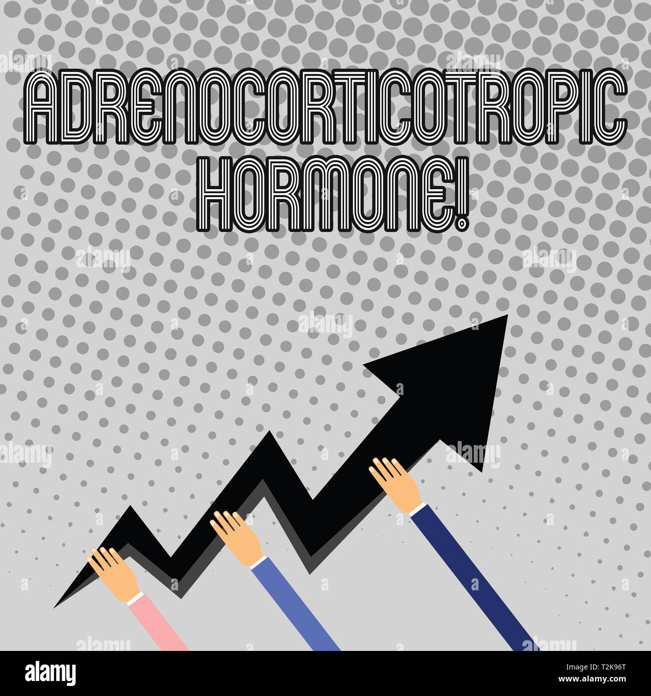 Handwriting text writing Adrenocorticotropic Hormone. Conceptual photo hormone secreted by pituitary gland cortex Three Hands Holding Colorful Zigzag  - Stock Image