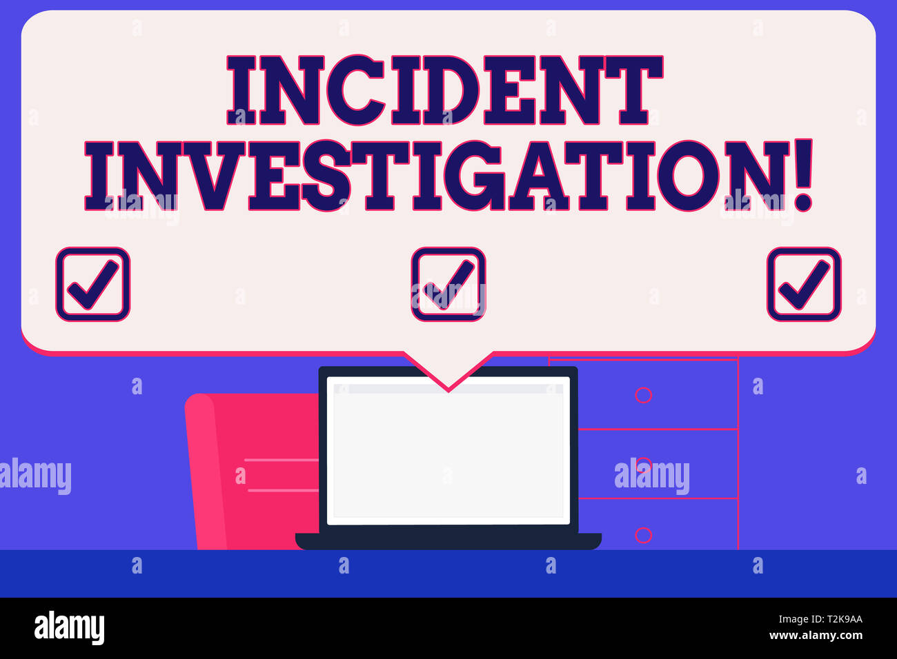 Text sign showing Incident Investigation. Business photo showcasing Account and analysis of an incident based on evidence Blank Huge Speech Bubble Poi - Stock Image