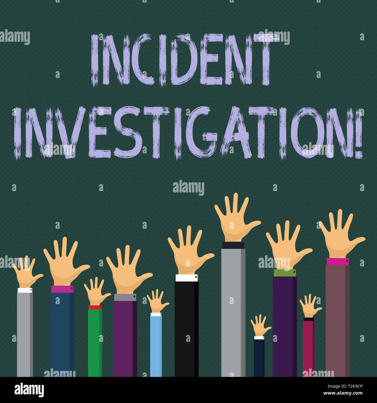 Writing note showing Incident Investigation. Business concept for Account and analysis of an incident based on evidence Businessmen Hands Raising Up A - Stock Image