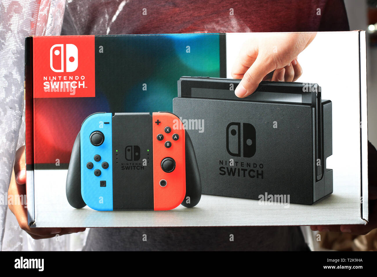 Nintendo switch games console Stock Photo