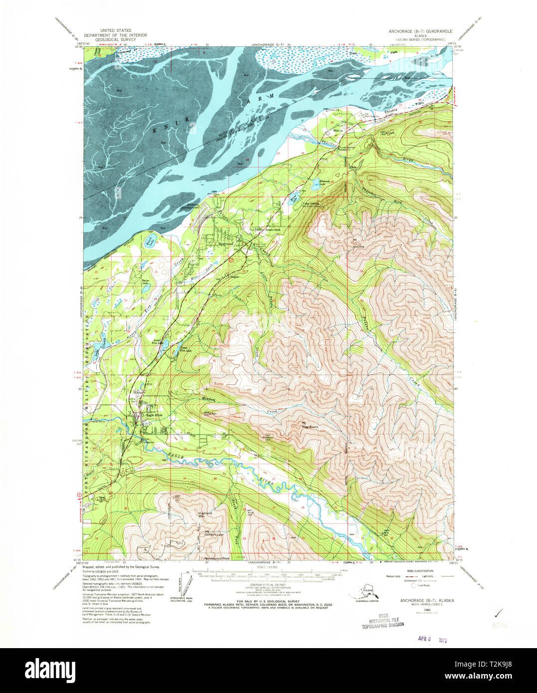 USGS TOPO Map Alaska AK Anchorage B-7 353976 1960 63360 ...
