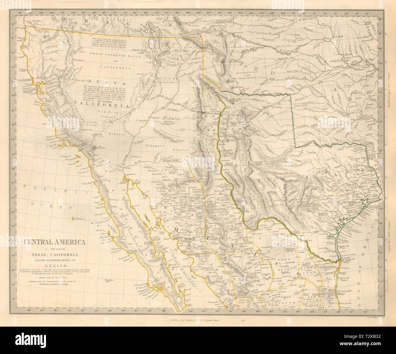SOUTH WESTERN USA. Showing Republic of Texas & Mexican California. SDUK 1846 map - Stock Image