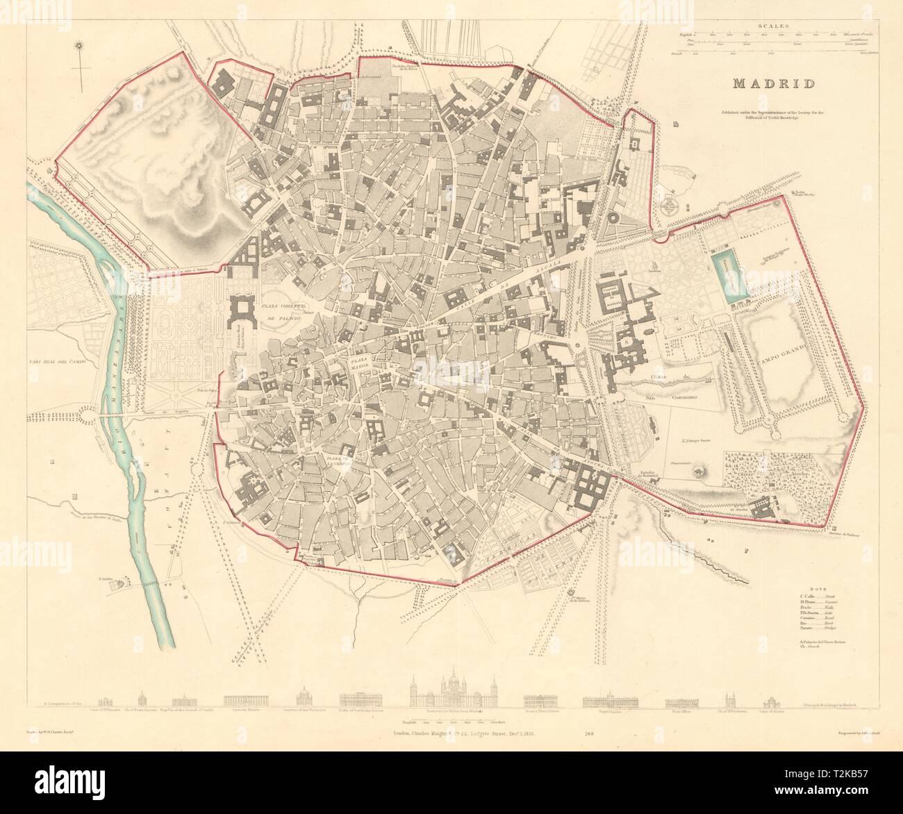 MADRID. Antique town city map plan. Original outline colour. SDUK 1847 old Stock Photo