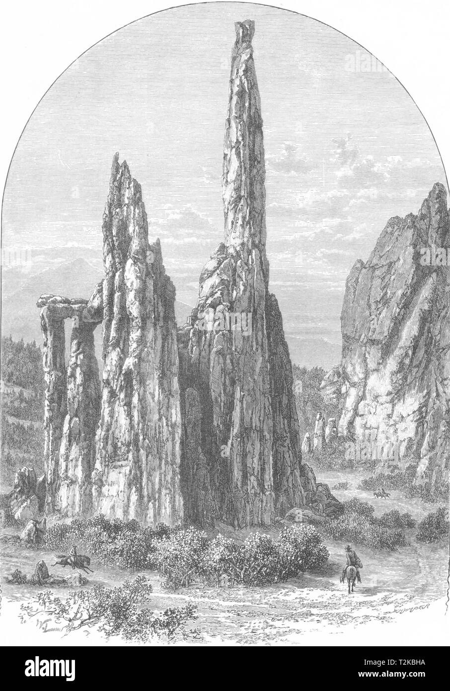 ILLINOIS. The Cathedral Spires in the Garden of the Gods 1891 old print - Stock Image