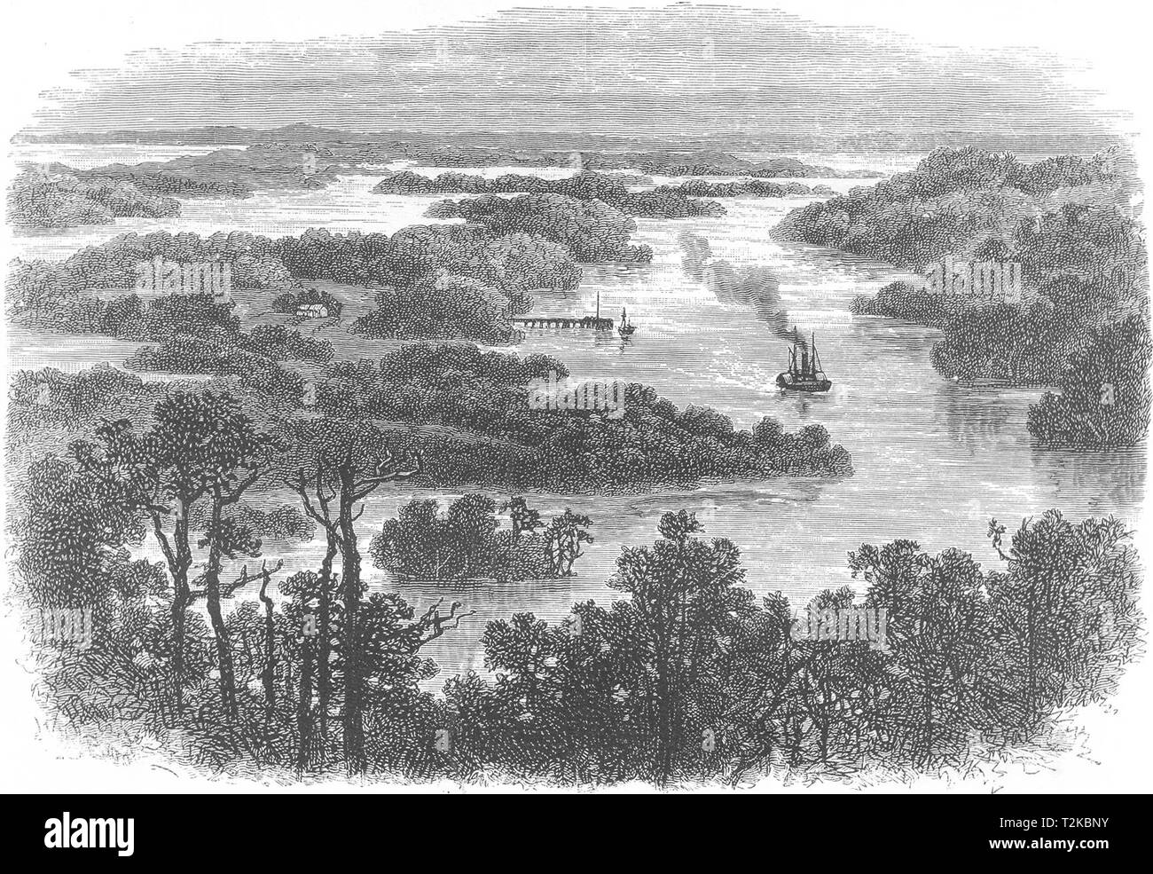 AUSTRALIA. Junction of Murray and Darling Rivers 1886 old antique print - Stock Image