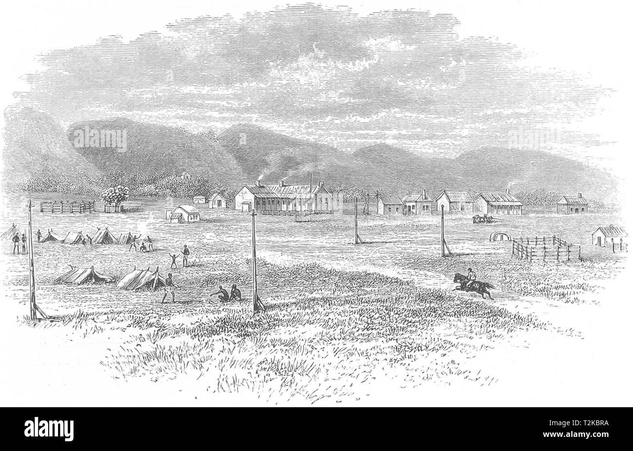 AUSTRALIA. South Australia. Peake overland telegraph station 1886 old print - Stock Image