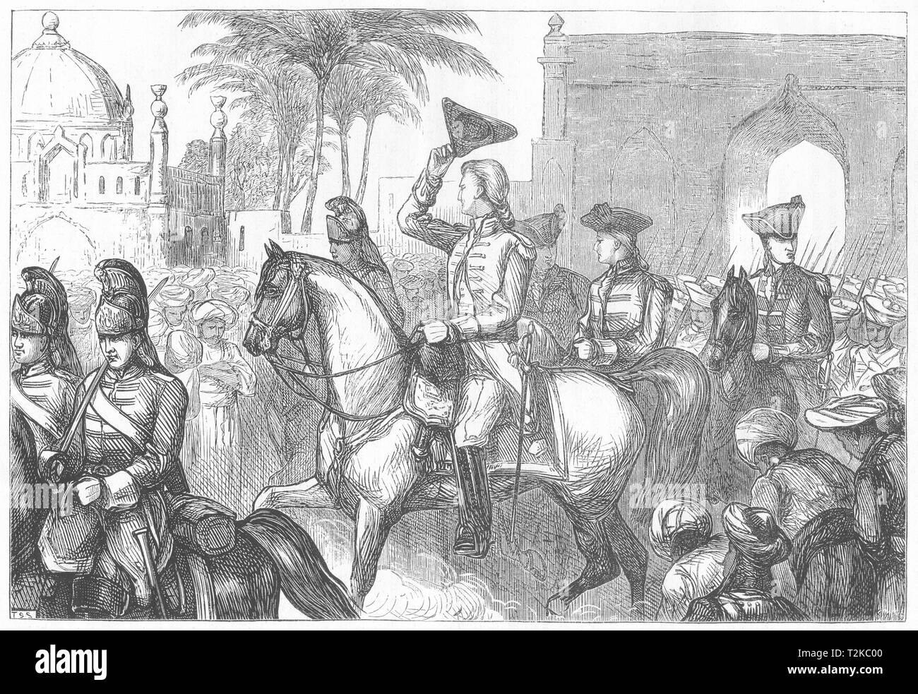 INDIA. General Goddard entering Surat c1880 old antique vintage print picture - Stock Image