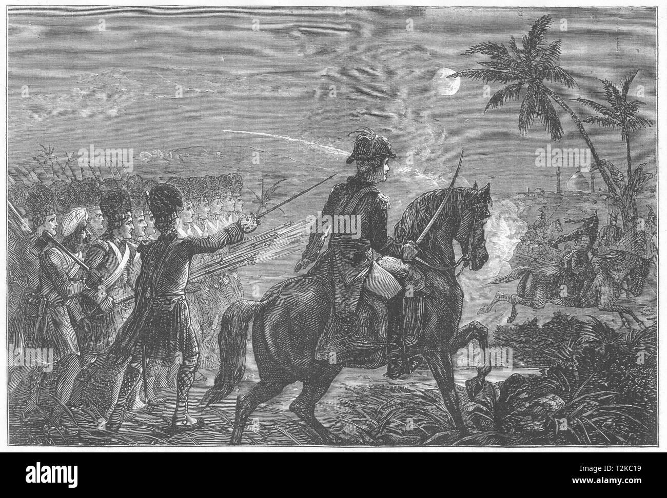 INDIA. Charge of the Highlanders at Srirangapatna c1880 old antique print - Stock Image