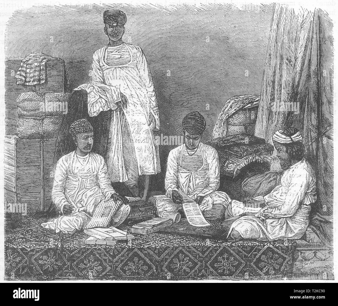INDIA. Marwari Merchants of Calcutta(Kolkata) c1880 old antique print picture - Stock Image