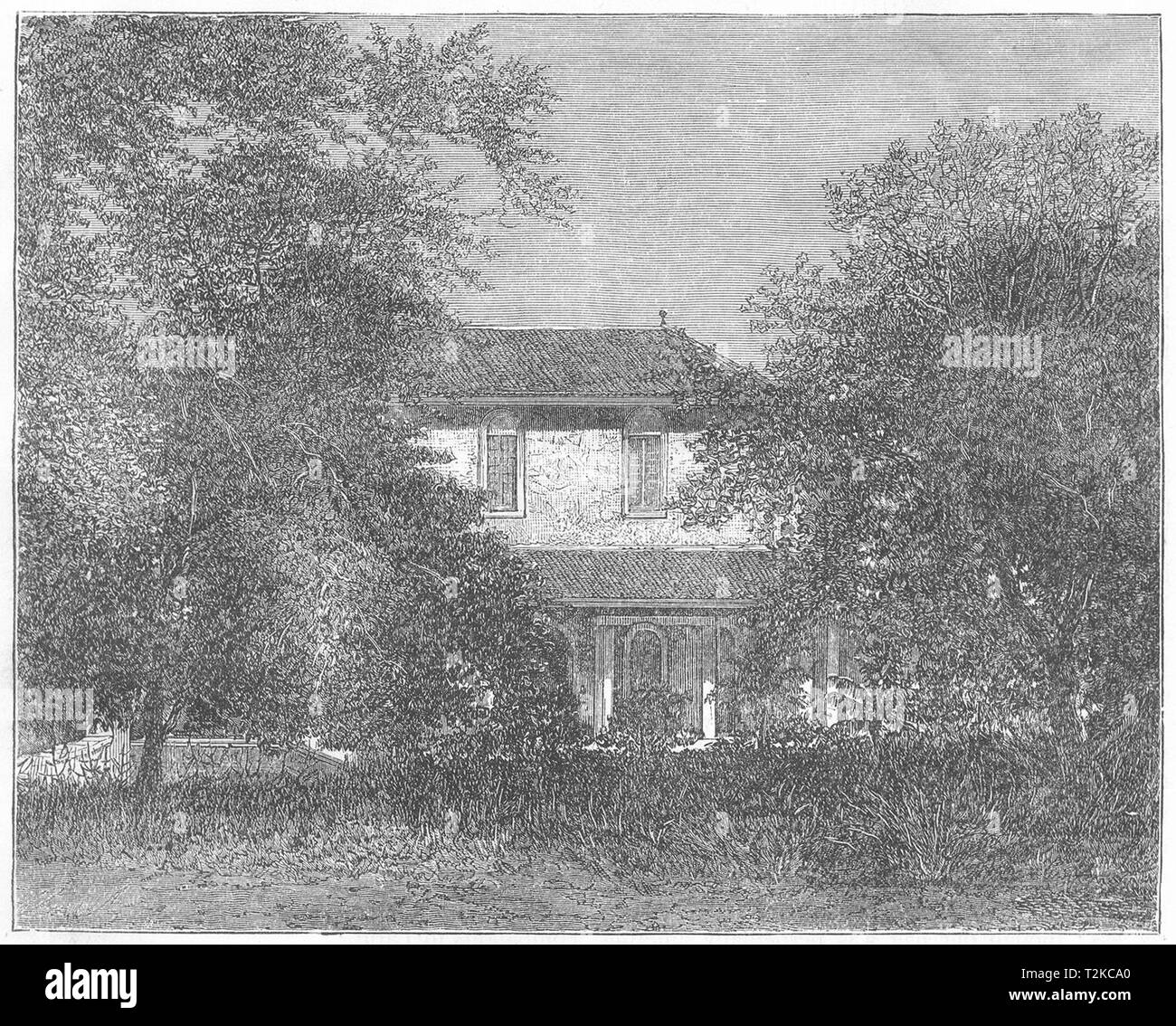 INDIA. A Bungalow at Ahmedabad, near Vadodara c1880 old antique print picture - Stock Image