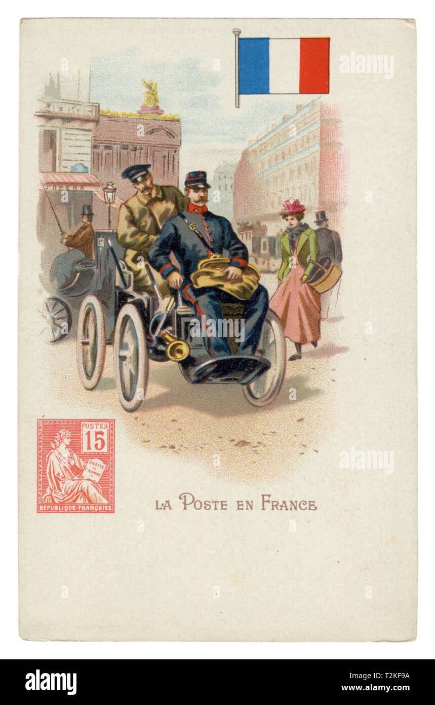 French historical chromolithographic postcard: World post series. French post. Postman by car on the streets of Paris. Flag and stamp of France Stock Photo