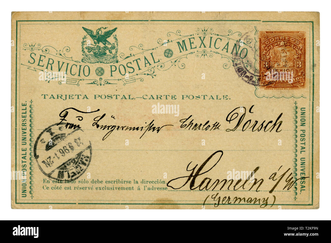 Mexican historical postal card: with an imprinted stamp three centavos, addressed to Hameln Germany, handwriting, cancellation 1896, Laredo, Mexico - Stock Image
