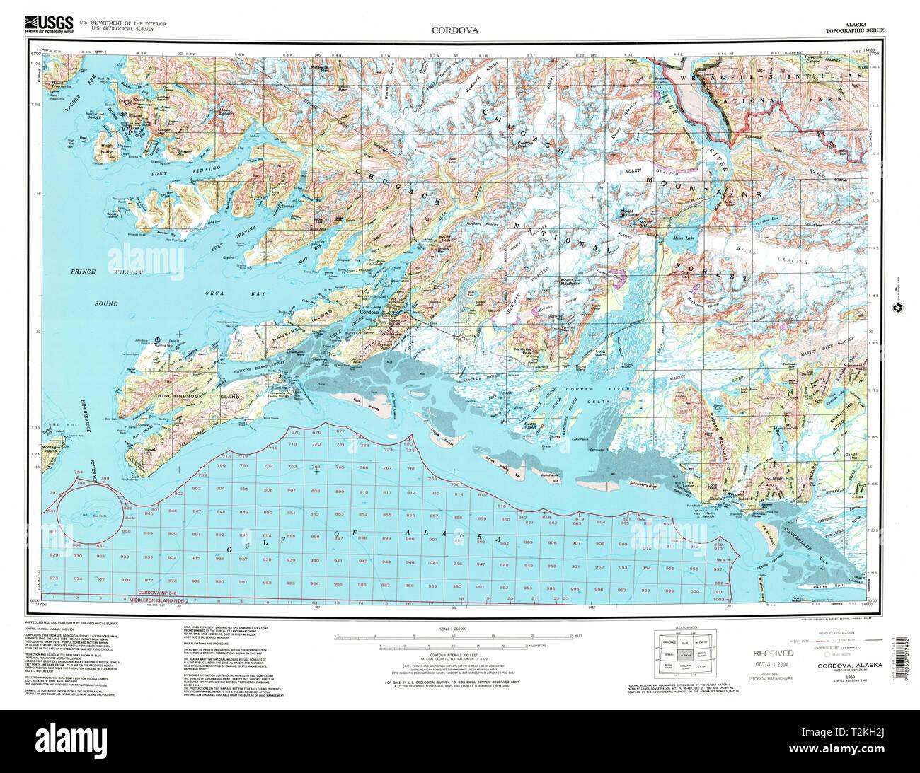 USGS TOPO Map Alaska AK Cordova 360794 1959 250000 ...