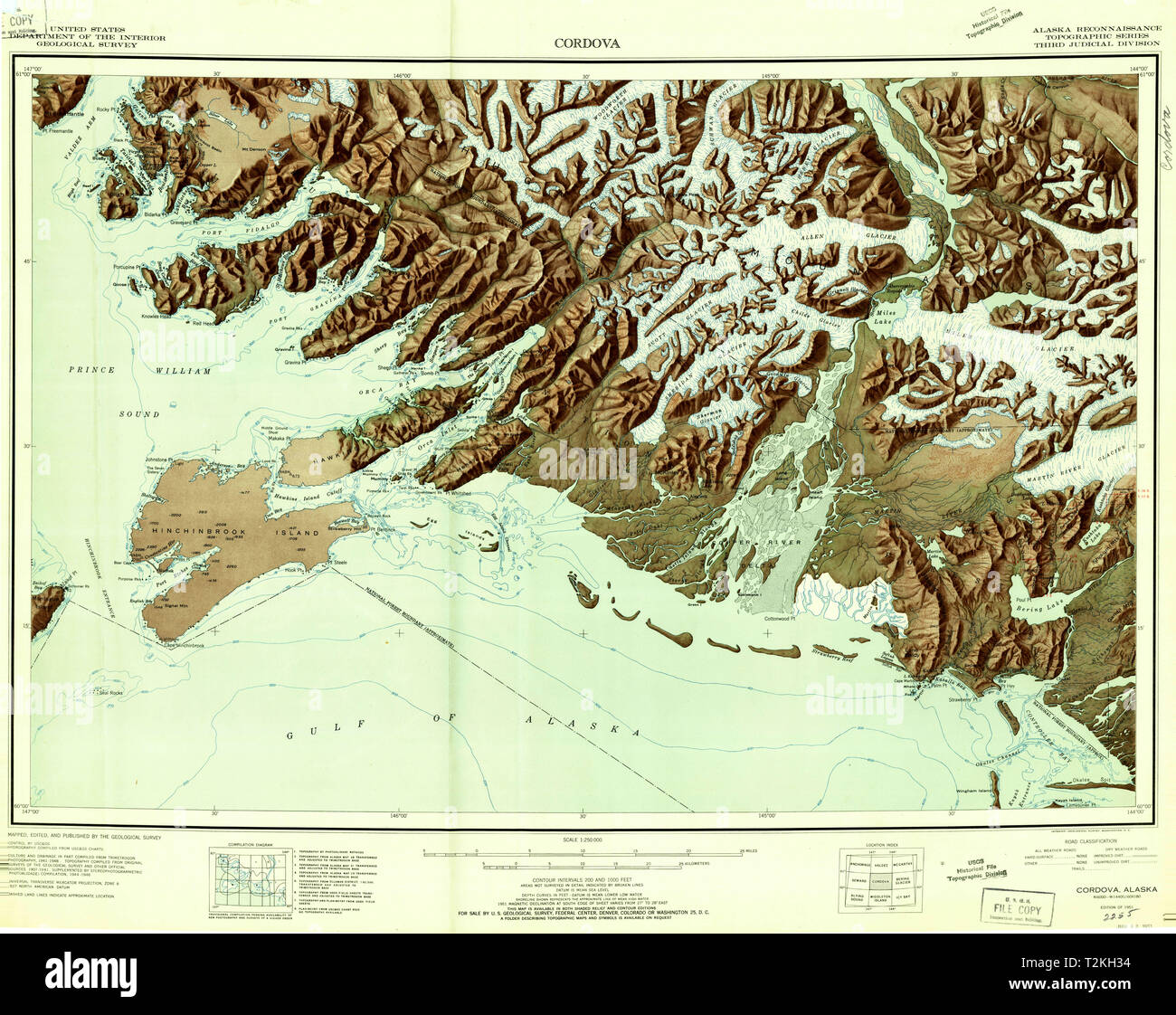 USGS TOPO Map Alaska AK Cordova 360798 1951 250000 Restoration Stock ...