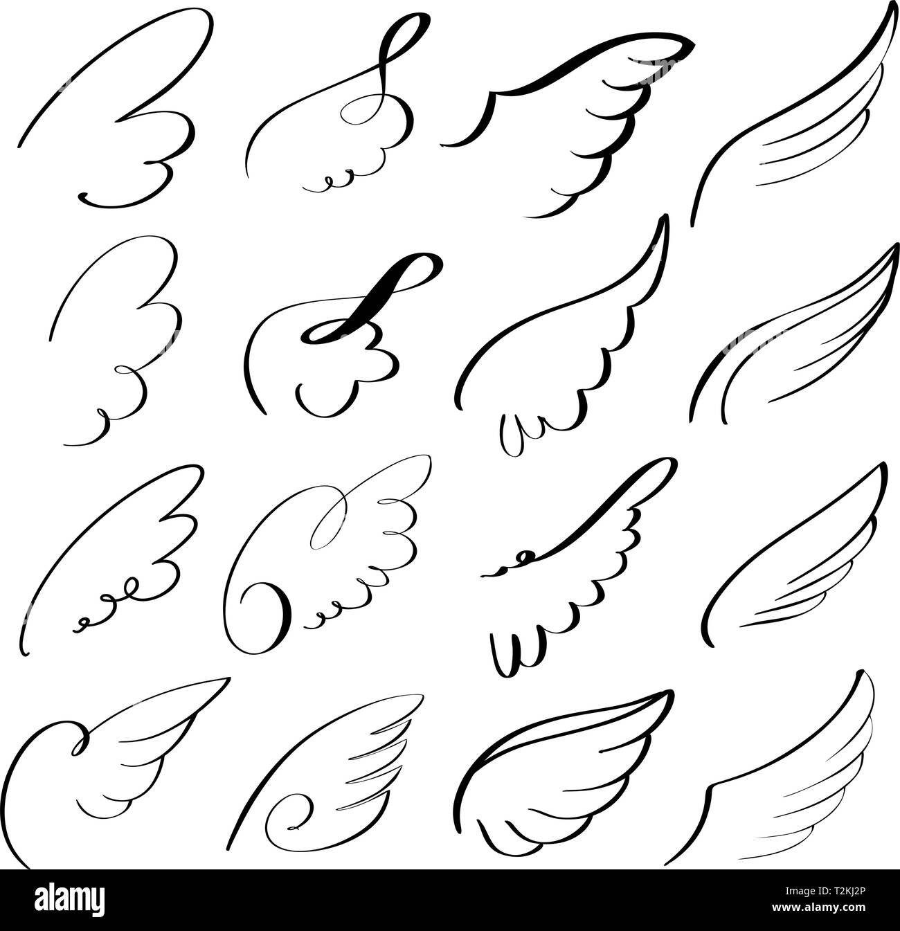 abstract flying dove sketch set icon collection cartoon hand drawn vector illustration sketch. - Stock Image