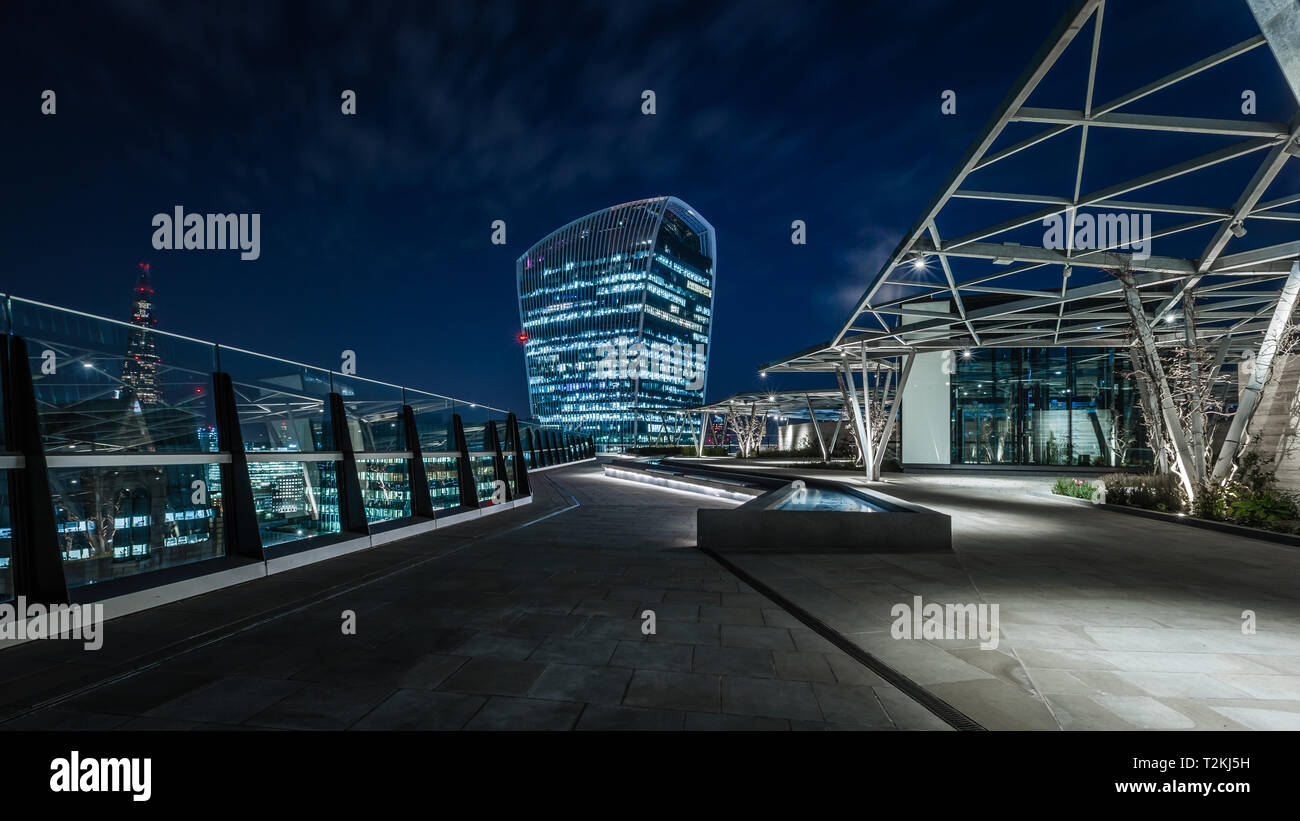 Panoramic view from The Garden at 120 Fenchurch Street in London - Stock Image