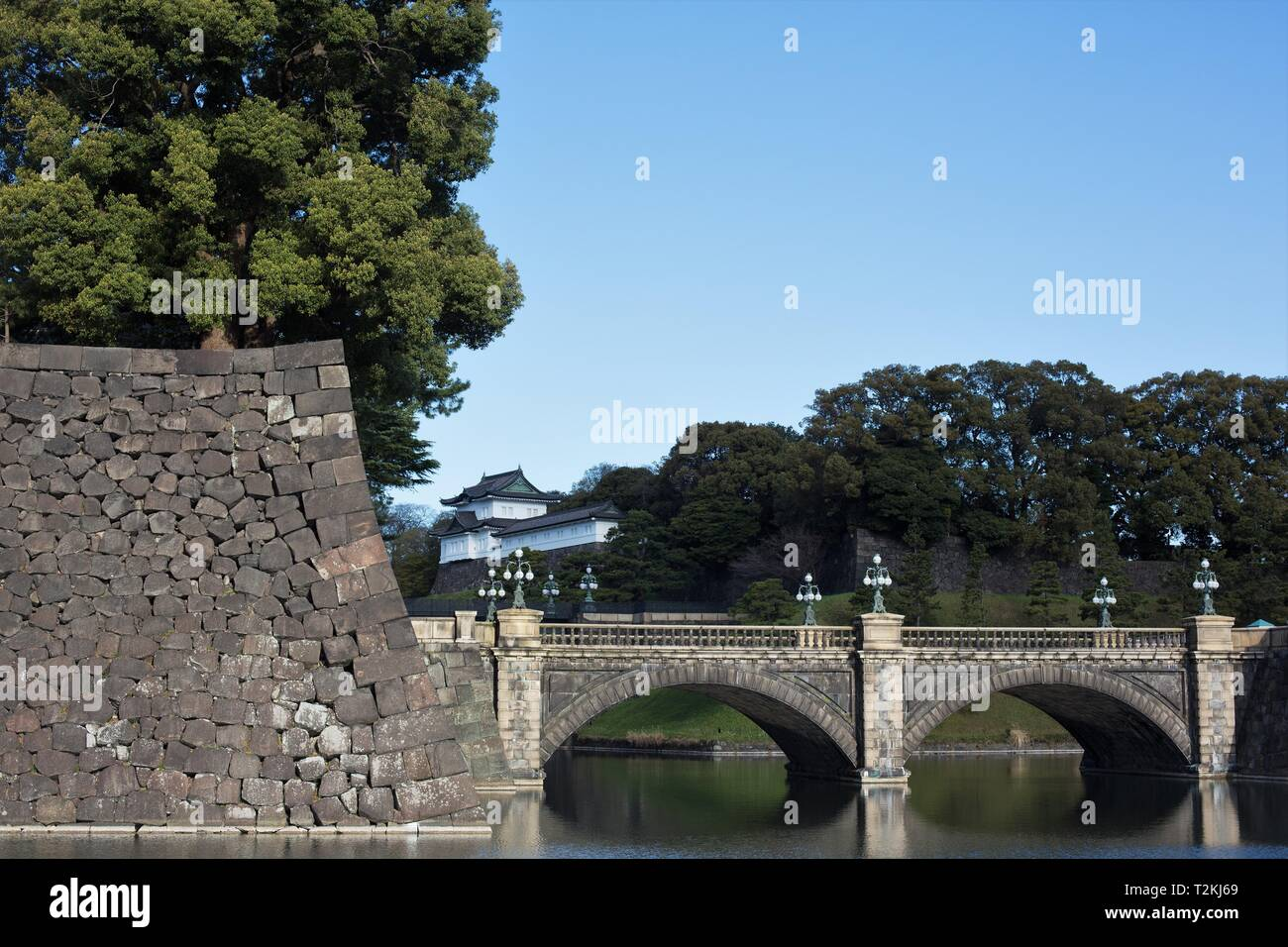 Nijubashi bridge at the Imperial Palace in Tokyo, Japan. - Stock Image