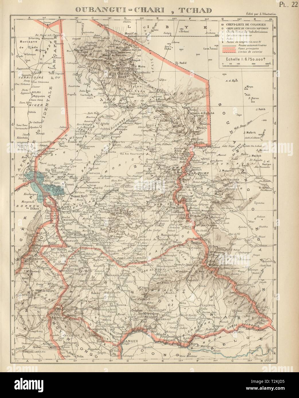 FRENCH COLONIAL CHAD & UBANGI-SHARI (C.A.R.). Oubangui-Chari Tchad 1931 map - Stock Image