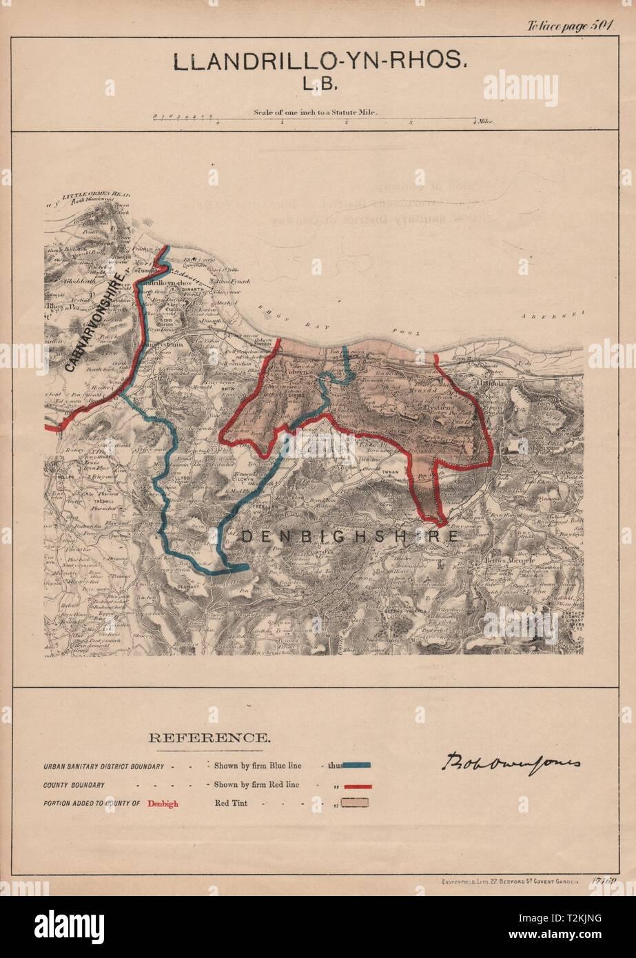 Llandrillo-yn-Rhos-on-Sea. JONES. PARLIAMENTARY BOUNDARY COMMISSION 1888 map - Stock Image