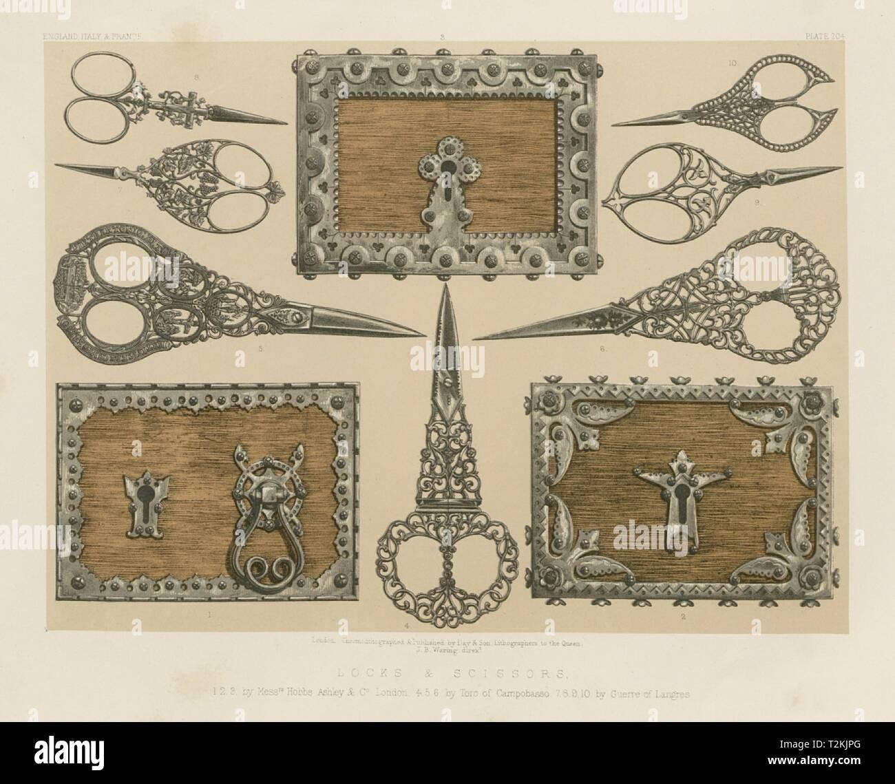 INTERNATIONAL EXHIBITION. Locks scissors Hobbs Ashley Campobasso Guerre 1862 - Stock Image
