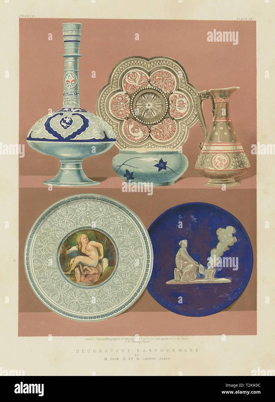 INTERNATIONAL EXHIBITION. Decorative earthenware. Deck A. Laurin, Paris 1862 - Stock Image