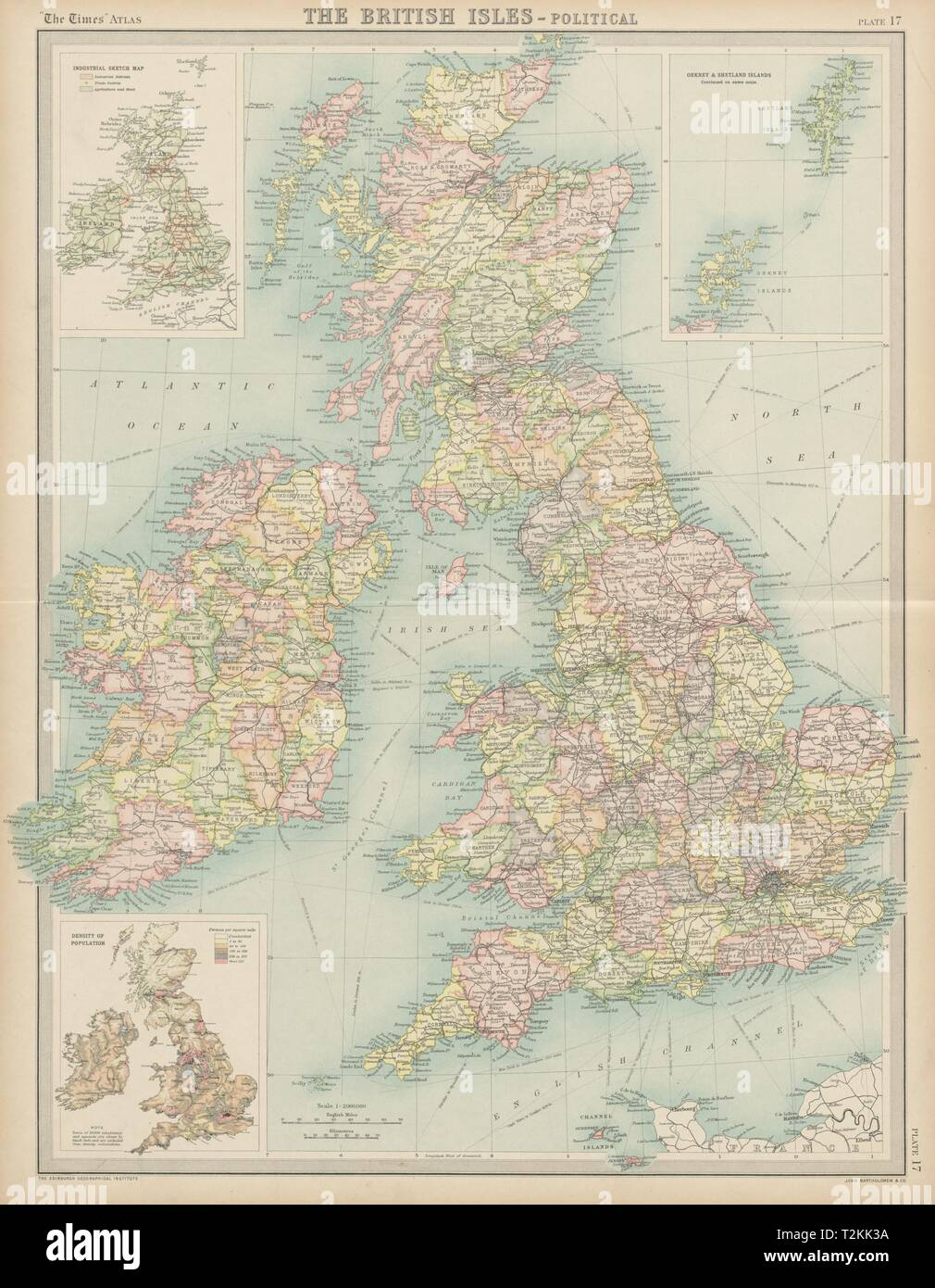 Map Of Ireland And Wales.British Isles Political Counties England Ireland Scotland Wales