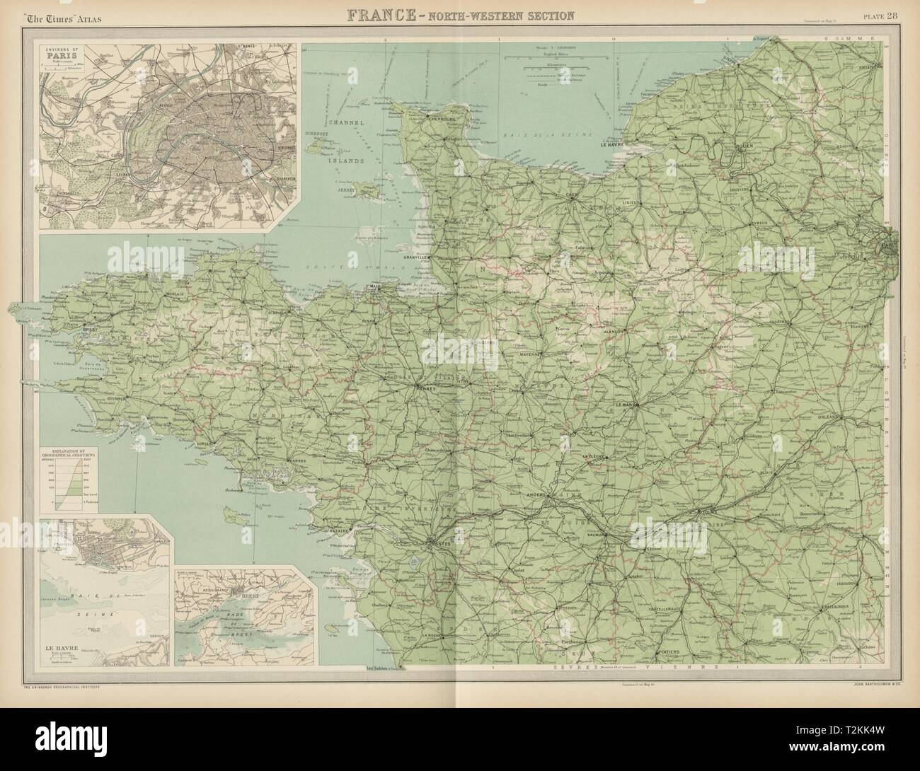 Map Of Western France.North Western France Brittany Normandy Loire Valley The Times 1922