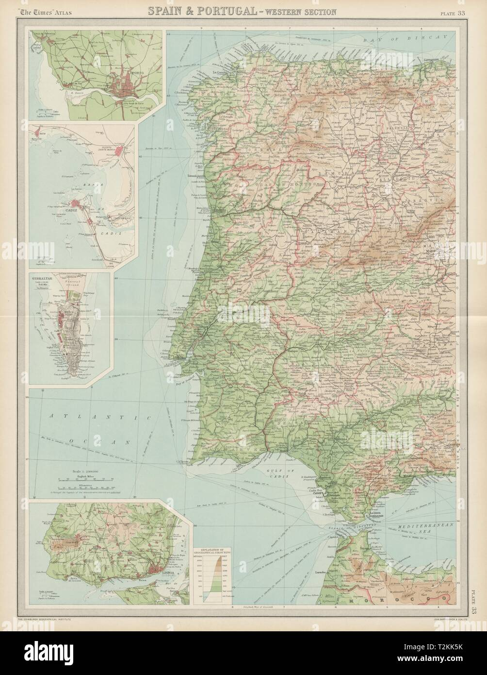 Map Of Western Spain And Portugal.Western Spain Portugal Iberia Lisbon Gibraltar Oporto Cadiz