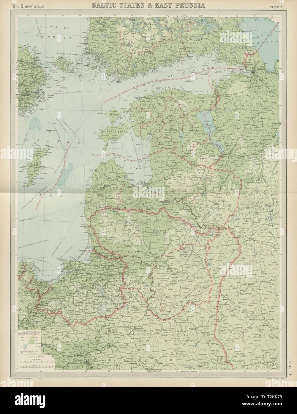 Baltic states. East Prussia. Unresolved borders. Estonia Latvia. TIMES 1922 map Stock Photo