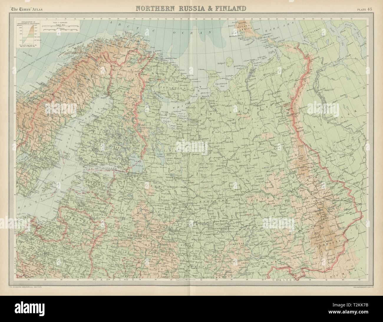 Northern Russia & Finland. Baltic States. Unresolved borders. THE TIMES 1922 map Stock Photo