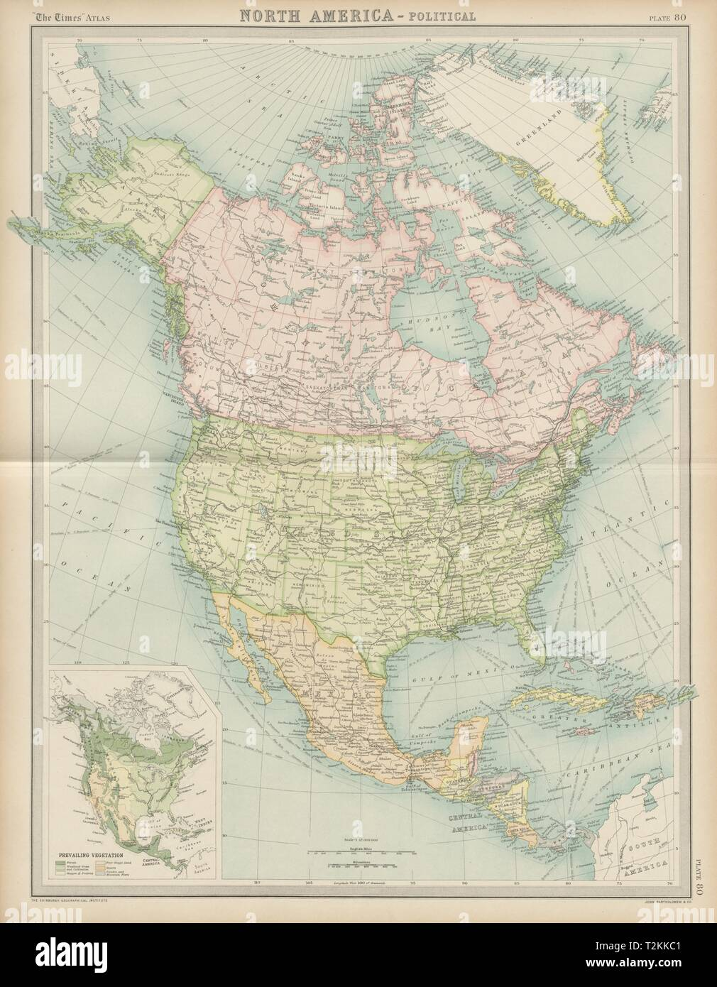 Political Map Of United States Canada And Greenland North America   Political. United States Canada Mexico Greenland