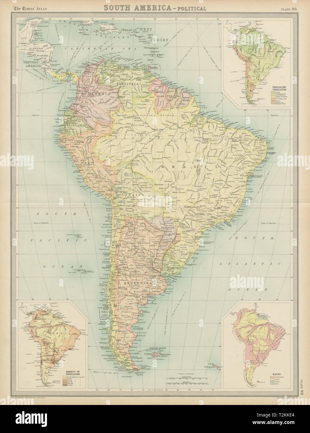 South America. Political. Ethnicity Races. THE TIMES 1922 ... on ethnic groups of central america, ethnic population of europe, aboriginals in south america, paraguay map south america, ethnic western asia map, ethnic populations in africa, ethnic origin us map by county,