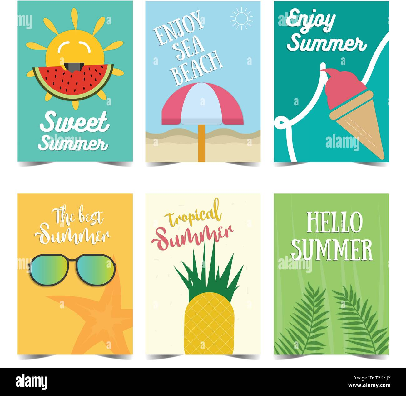 Set Of Summer Poster Design Vector Illustrations For Summer Holiday Travel And Vacation Restaurant And Bar Menu Part And Beach Vacation Stock Vector Image Art Alamy