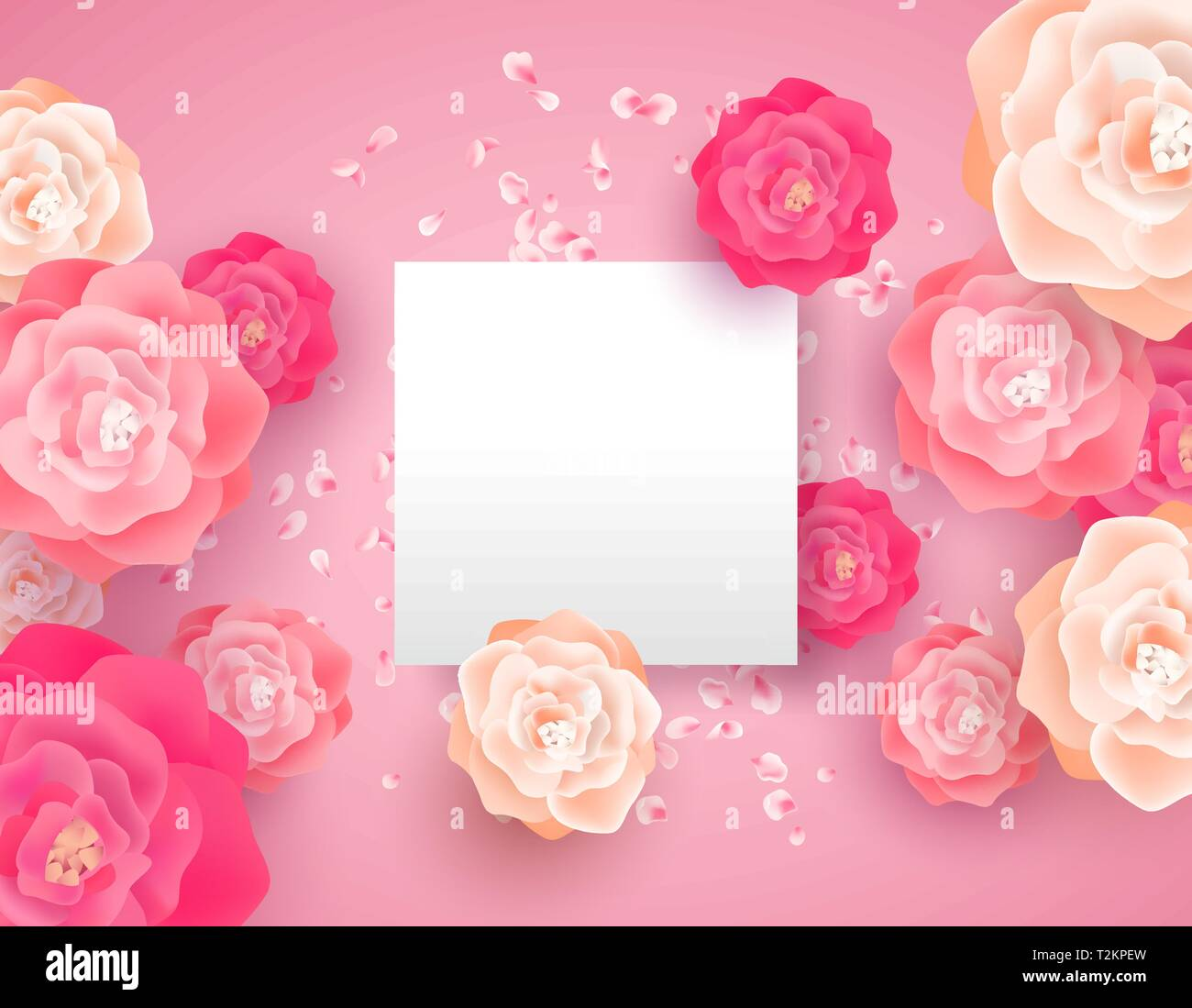 Pink Spring Flowers With Empty Paper Card Template Beautiful