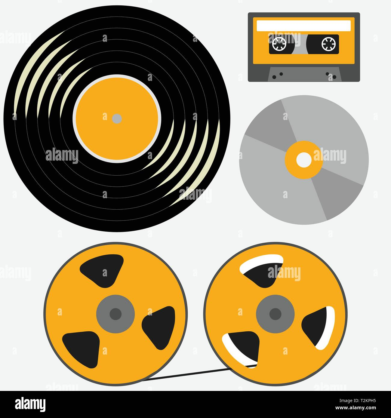 Different music records: vinyl, audio cassette, compact disk, reel to reel tape - Stock Image
