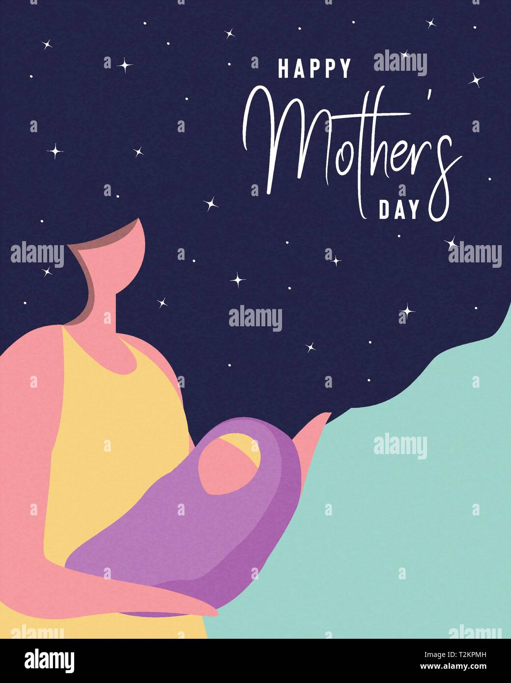 Happy Mothers Day card illustration. Woman with long hair holding baby for motherhood concept or mother love. - Stock Image