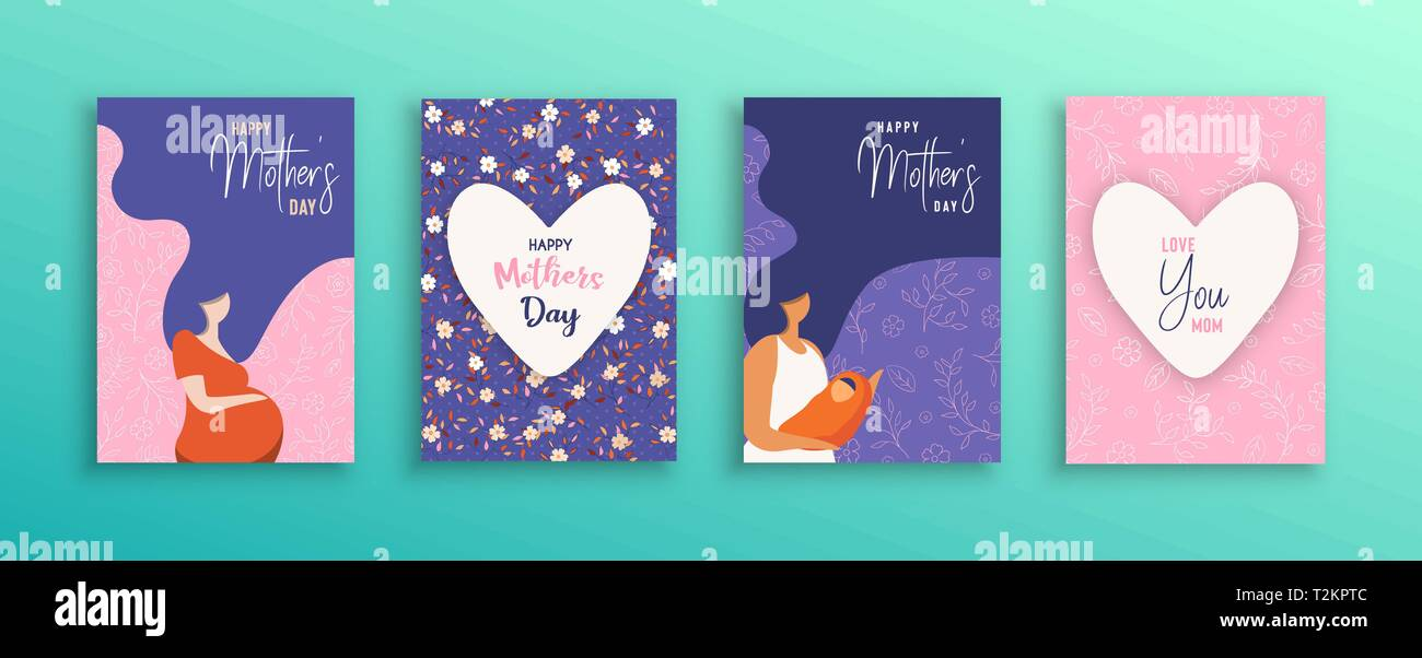 Happy Mothers Day greeting card collection. Illustration set of pregnant woman and mom with long hair for motherhood concept or mother love. - Stock Image