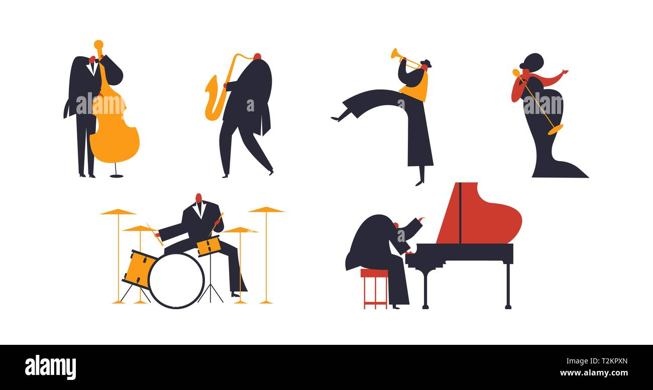 Set of jazz band people playing diverse music instruments and singer. Includes drum, saxophone, trumpet, piano player - Stock Image