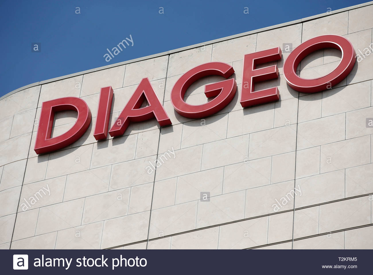 File photo dated 08/08/13 of a Diageo sign. The drinks giant will offer its male and female workers equal parental leave. - Stock Image